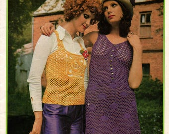 Patons 303 Womens 1970s Vintage Boho Crochet Patterns Booklet Vests Sweaters Cardigan Poncho Tank Top 6 ply ORIGINALS NOT PDF