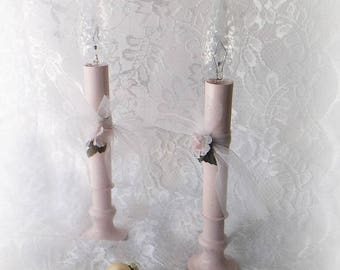 Vintage Shabby Pink Candle Lights. Lace Bows Shabby Roses.  Christmas Candles. Cottage Shabby nite lights.