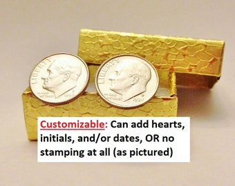20th Anniversary Gifts for Men: 20 Years Gift for Him Husband; 1998 Wedding, Married 20 Years, Dime Cufflinks Jewelry, UNCIRCULATED, Custom