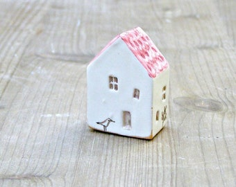 tiny ceramic house-pink little house with bird