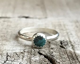 Dainty Elegant Round Green Turquoise Serrated Setting Sterling Silver Ring | Turquoise Ring | Gifts for Her | December Birthday