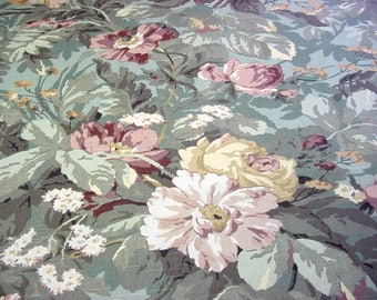 Cabbage Rose Floral Decorator Fabric - Roses Peonies Pink,Wine,Sage Green,Mint Green,Olive,Aqua Vintage P Kaufmann Home Decor Material BTY