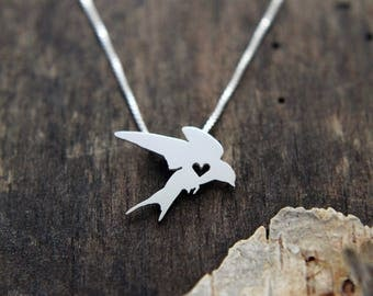 Swallow necklace, sterling silver, tiny silver hand cut pendant with heart, barn swallow bird