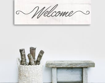 Welcome Wall Art, Rustic Welcome Sign, Rustic Home Decor, Welcome To Our Home, Quote Home Art, Farmhouse Decor, Wood Textured Canvas