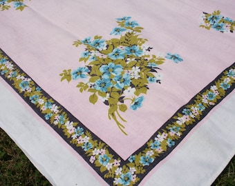 Vintage Printed Tablecloth Pink with Blue Flowers Linen