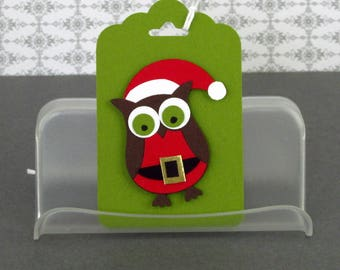 Christmas Gift Tags Handmade Owl Santa Tags Santa Claus Ornaments Your Choice of One Three or Eight Tags Scrapbookking cardmaking