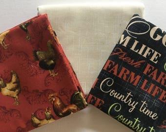 "Farm Fresh Half Yard Bundle of 3 Fabrics from Windham - 18"" x 44"""