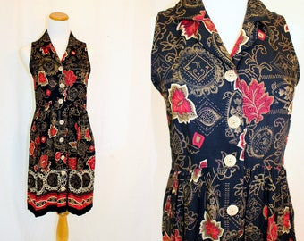 1990's Black Red Gold Baby Doll Dress Rayon Size 6 Vintage Retro 90's Sleeveless Graphic Artsy Hipster Border Print
