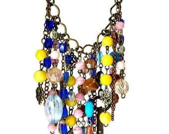 Waterfall Necklace, Boho Statement Necklace, Gypsy Jewelry, Bohemian Necklaces, Repurposed Key, Rosary, Upcycled Jewelry