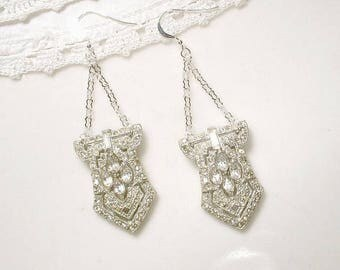 Antique Art Deco Earrings, 1920s Bridal Earrings Paste Rhinestone Dangle,Sterling Silver Vintage Wedding,Dress/Shoe Clip Long Statement 1930