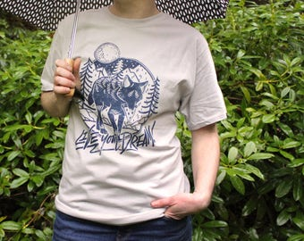 Pizza Wolf Shirt | Live Your Dream T-Shirt | Hand screen printed inspirational shirt | Silver and Blue