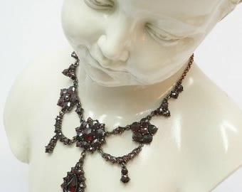 Vintage garnet starcut festoon necklace in Victorian style || ГРАНАТ#PK