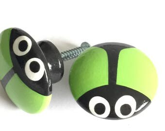 CABINET KNOBS Hardware Dresser Drawer Pulls 1.75 in. Round Lime Green Beetle Bug Knobs Set of Two