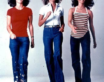 High waisted wide leg vintage threes company charlies angels jeans from 1970s