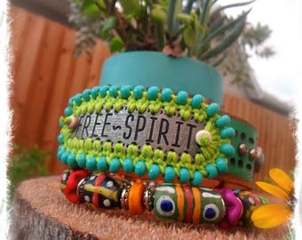FREE SPIRIT Cuff Green Turquoise leather BRACELET Gypsy Message jewelry colorful beaded studded Bracelet Boho Inspirational jewelry GPyoga