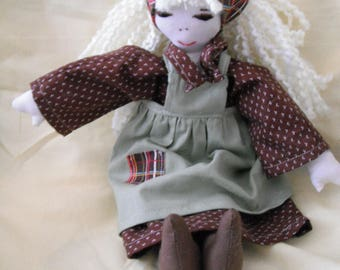 Handmade Fabric Doll / Cloth Doll / Rag Doll / Doll / Country Doll / Toys / Childrens Gifts / Doll with Yarn hair