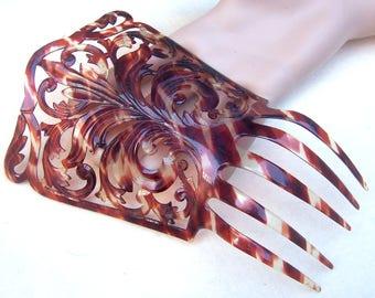 Spanish mantilla hair comb faux tortoiseshell mid century hair accessory headdress headpiece decorative comb
