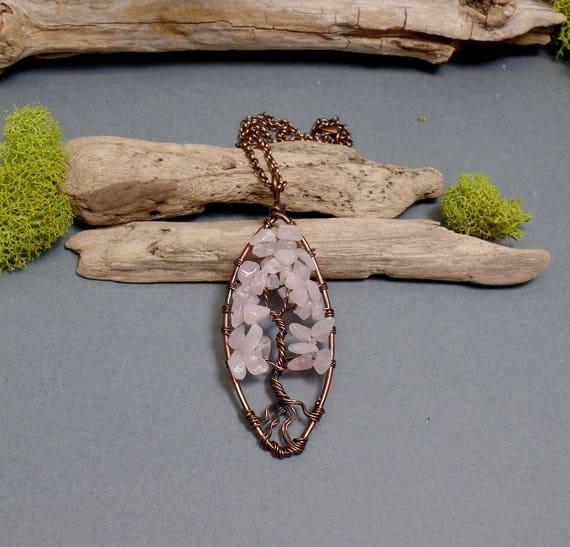 Rose Quartz Tree of Life Necklace - Quartz Necklace - Gemstone Necklace - Rose Quartz Pendant - Copper Tree Necklace - Pink Tree Necklace