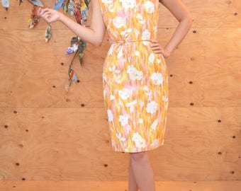 Vintage 50's Retro Orange White Floral Hourglass Day Dress SZ S