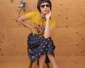 Vintage 80's Silky Sexy Navy And Yellow Stars Print Midi Skirt With Fun Playfull Look SZ S/M
