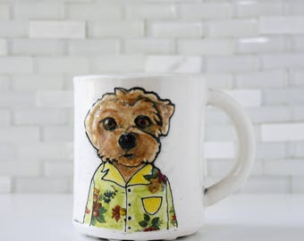 Dog Mug | terrier in a hawaiian shirt | coffee mug tea cup | animal pet dog portrait | dog lover gift idea | in stock