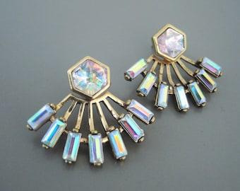 Vintage Inspired Earrings - Ear Jackets - Rhinestone Earrings - Opal Earrings - Antiqued Gold Earrings - Handmade Earrings