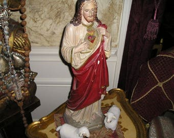 "Sale Vintage Divine 22"" Sacred Heart Jesus Statue Old Church Icon w/Lambs."
