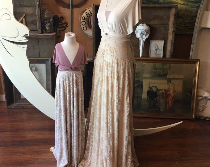 """Ready Made- 52"""" L standard- Tea and Ivory Vintage Style Lace Octopus Infinity Wrap Dress- Wedding Gown, Bridesmaids, Maternity, Etc."""