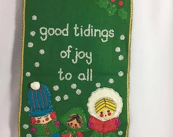 Vintage Good Tidings Holiday Wall Hanging
