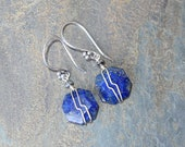 Wire Wrapped Earrings, Lapis Earrings, Blue Earrings, Natural Stone Earrings, Lapis Lazuli Earrings, Handmade Earrings, September Earrings