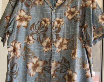 Vintage Hawaiian Shirt Pride Of Hawaii Brand 100% Cotton Size Large Blue Brown & White