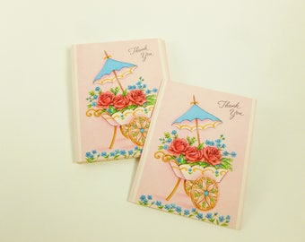 Thank You Notes Lot of 10 Unused Mid Century Greeting Cards Roses Flower Cart with Umbrella Any Occasion
