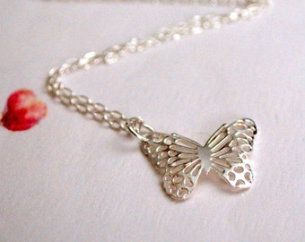 Silver Butterfly Necklace,  Sterling Silver Filigree Butterfly, Sterling Silver Chain, Delicate Necklace, Gifts for Girls, Sister Gift