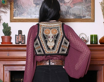Antique Afghan Black Gold Embroidered Gypsy Vest XXS