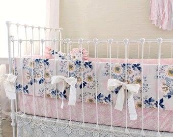 Pink Gray and Navy Crib Bedding Set for Custom Baby Girl Nursery, includes Crib Bumper, Crib Sheet Options, & Crib Skirt Options