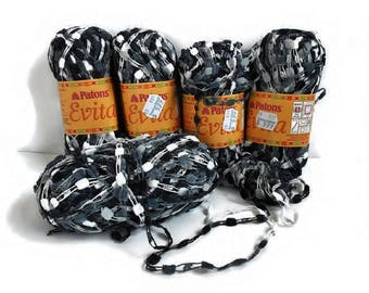 Black and White Ladder Yarn Patons Evita, Silver Gray Bulky Novelty Craft Yarn Lot 4+ Skeins