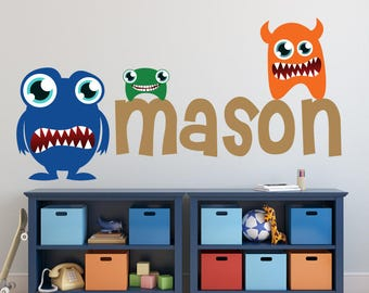 Monster Wall Decal, Boys Monogram Wall Decal, M106