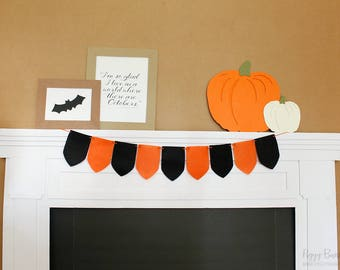 Halloween Tapestry Felt Garland : Handcrafted Halloween Party Decoration | Photo Booth Decoration | Fall Garland | READY to SHIP