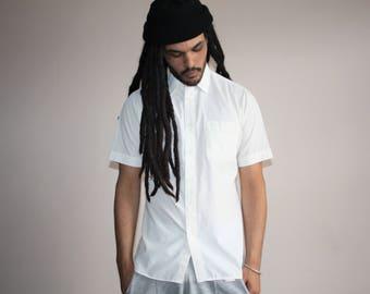 Vintage 1970s Short Sleeve White Designer Men's Pierre Cardin Button Up Dress Shirt - Men's Vintage Shirts  - 70s Clothing - MV0456