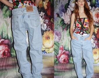 Orange Tab 505 1980s VTG Levis Strauss Mid Rise Light Wash Denim Oversize Levis Jeans - Vintage Levi's - 90s Clothing - WV0562