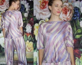 Vintage 1970s Minimalist Lavender Pastel Shiny Stripe Two Piece Jammies PJs Lingerie Pajama Set- Harem Pants - 70s Clothing - WV0583