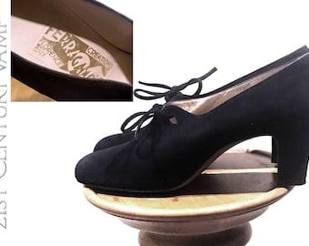 Rare 1930s Ferragamo Shoes. Custom Handmade Vintage. Made In Italy. Black Suede. Original Ferragamo's Creations label.  30s 40s. Nr MINT