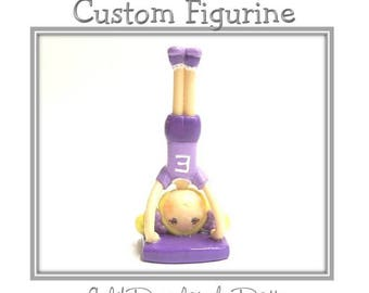 Custom Cold Porcelain Upside Down Girl Figurine, Personalized Clay Girl Cake Topper, Pilates Cake Topper, Yoga Cake Topper, Ornament, Gift