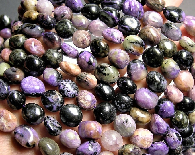Charoite Gemstone -  rounded nugget - 32 beads - 16 inch - Big chaorite beads - PSC408