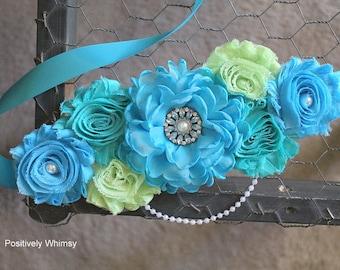 Maternity Sash, Boy Maternity Sash, Blue Maternity Sash, Green Sash, Maternity Flower Sash, Turquoise, Celery Green, Tropic, White, RTS