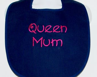 Mom Bib, Custom Funny Adult, Queen Mum, Canvas, Clothing Cover Up Protector, Custom With Name, No Shipping Fee, Ships TODAY 1191