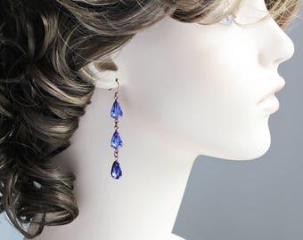 Dark Blue Rhinestone Teardrop Earrings on Antiqued Copper Plated Hooks (Vintage Glass)