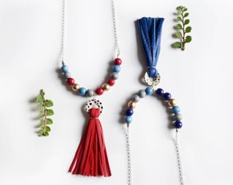 Leather Donut Tassel Necklace Spotted Colourful Wooden Beads Bright Tassle Chain Necklace Customizable Multicolour Recycled Necklace