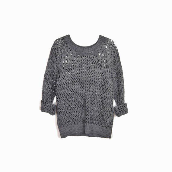 "SANDRO ""Shooting"" Open Knit Sweater in Slate Gray - EUC - Size 3 / US 8 / Pre Owned"