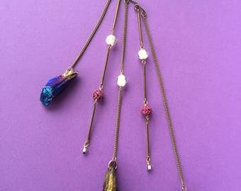Unicorn Rainbow Purple Quartz Titanium Glow in the Dark Beads Lava beads Ear Wrap Cuff
